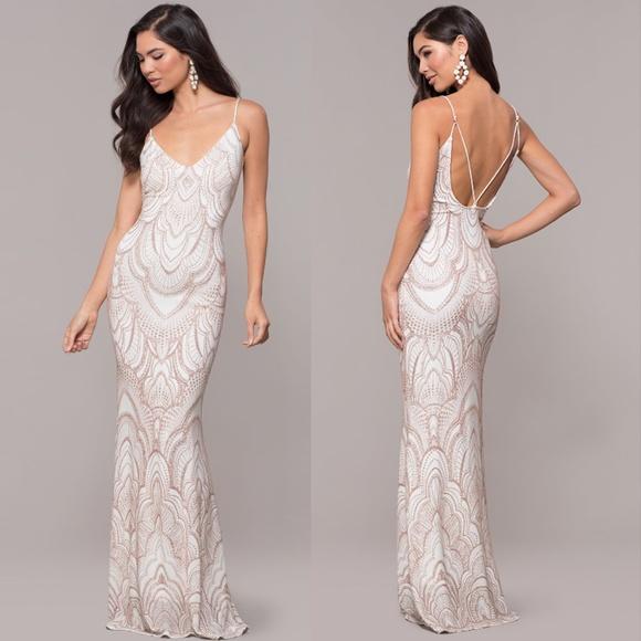 Dresses White W Rose Gold Glitter Gatsby Style Dress Poshmark
